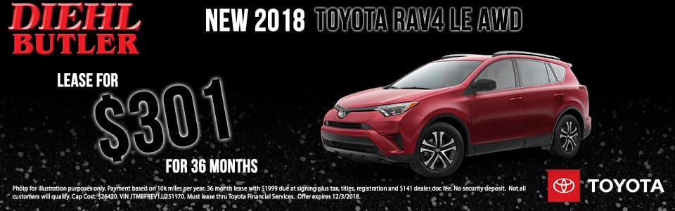Diehl Toyota of Butler pa.  New 2018 Toyota RAV4 LE AWD
