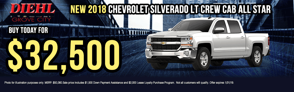 G032-2018-CHEVROLET-SILVERADO-LT-CREW-CAB-ALL-STAR Diehl of grove city new vehicle specials Chevrolet specials buick specials Cadillac specials new specials gm specials diehl automotive lease specials lease incentives new car new truck