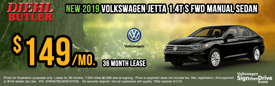 V190112-vw-jetta-manual-sedan sign then drive event Volkswagen specials diehl auto Diehl vw new vehicle specials butler pa
