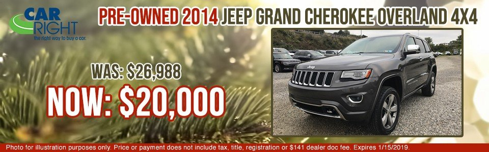 pre-owned 2014 jeep grand cherokee overland 4x4 carright chrysler dodge jeep ram fuso carright pre-owned vehicle specials moon township