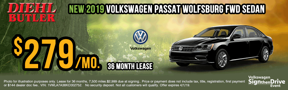 V191102-vw-passat-wolfsburg sign then drive event Volkswagen specials diehl auto Diehl vw new vehicle specials butler pa
