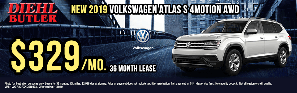 V191201-2019-VOLKSWAGEN-ATLAS-S-4MTION-AWD Diehl Volkswagen of Butler, PA new and used vehicle sales, service, parts, and accessories. Chrysler jeep dodge ram toyota volkswagen New 2019 Volkswagen Atlas S AWD new vehicle specials volkswagen specials lease specials
