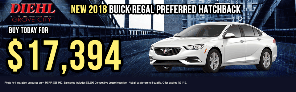 B017-2018-BUICK-REGAL-HATCHBACK Diehl of grove city new vehicle specials Chevrolet specials buick specials Cadillac specials new specials gm specials diehl automotive lease special lease incentive