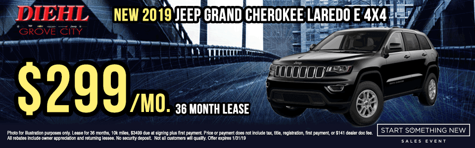 J1363--2019-JEEP-GRAND-CHEROKEE-LAREDO-4X4 new vehicle specials Start Something New Sales Event Chrysler Specials Dodge Specials Jeep Specials RAM Specials grove city specials Diehl specials Diehl Automotive grove city lease specials