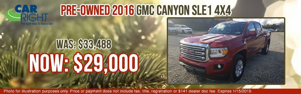 pre-owned 2016 gmc canyon sle1 4x4 carright chrysler dodge jeep ram fuso carright pre-owned vehicle specials gmc specials used specials moon township