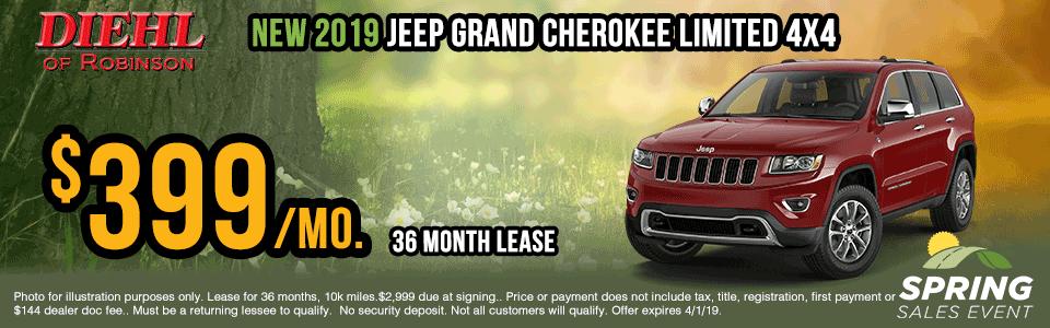 19J1049-2019-jeep-grand-cherokee-limited lease specials Spring sales event jeep specials Chrysler specials ram specials dodge specials mopar specials new vehicle specials Diehl automotive Diehl Robinson Diehl of Robinson specials