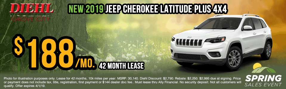 J1379-2019-jeep-cherokee-latitude-plus Spring sales event jeep specials Chrysler specials ram specials dodge specials mopar specials new vehicle specials Diehl automotive Diehl Robinson Diehl of grove city specials lease specials