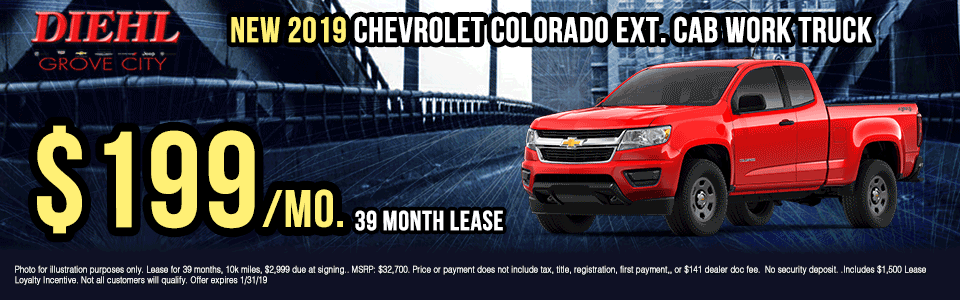 G417-2019-CHEVROLET-COLORADO-EXTENDED-CAB-WORK-TRUCK Diehl of grove city new vehicle specials Chevrolet specials buick specials Cadillac specials new specials gm specials diehl automotive lease special lease incentive truck special