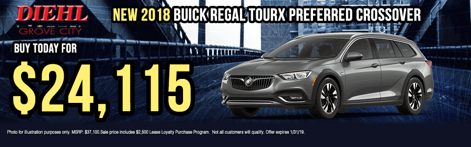 B025-2018-BUICK-REGAL-TOURX-PREFERRED-CROSSOVER Diehl of grove city new vehicle specials Chevrolet specials buick specials Cadillac specials new specials gm specials diehl automotive lease special lease incentive