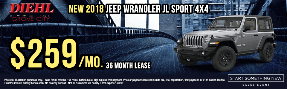 J1324--2018-JEEP-WRANGLER-SPORT-4X4 new vehicle specials Start Something New Sales Event Chrysler Specials Dodge Specials Jeep Specials RAM Specials grove city specials Diehl specials Diehl Automotive grove city lease specials