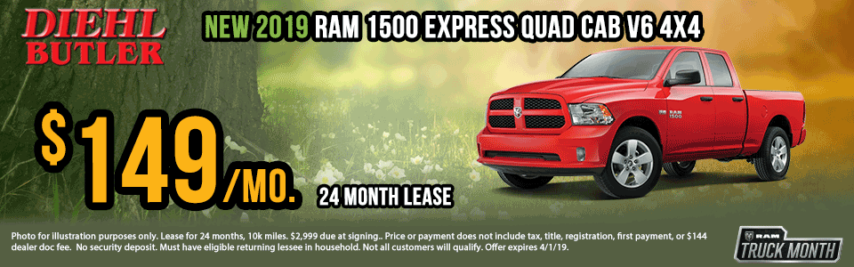"Diehl of Butler. Chrysler Jeep Dodge Ram Toyota Volkswagen. Butler, PA. New and Used sales, service, body shop, reconditioning, parts and accessories.  NEW 2019 RAM 1500 CLASSIC EXPRESS QUAD CAB® 4X4 6'4"" BOX"