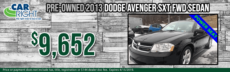 Spring sales event carright Chrysler dodge jeep ram Diehl auto moon township Pittsburgh pre-owned vehicle special used special certified pre-owned cpo dodge specials b3345a-2013-dodge-avenger-sxt