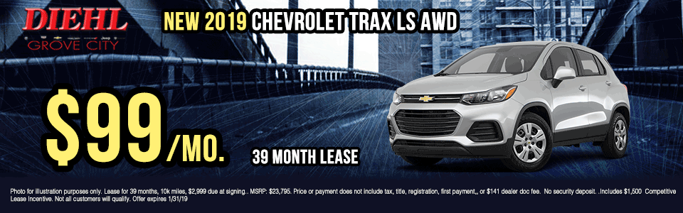 G393-2019-CHEVROLET-TRAX-LS-AWD Diehl of grove city new vehicle specials Chevrolet specials buick specials Cadillac specials new specials gm specials diehl automotive lease special lease incentive suv special