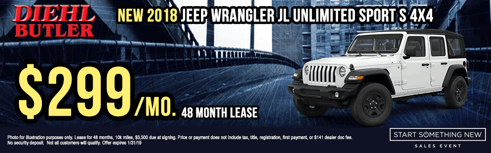 J180952-2018-JEEP-WRANGLER-JL-SPORT-4X4 Diehl Automotive butler new vehicle specials lease specials Chrysler specials dodge specials jeep specials ram specials wrangler compass Cherokee big horn truck suv offload start something new sales event butler specials