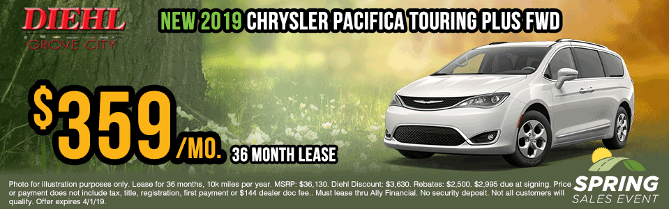 C278-2019-chrysler-pacifica-touring-plus Spring sales event jeep specials Chrysler specials ram specials dodge specials mopar specials new vehicle specials Diehl automotive Diehl Robinson Diehl of grove city specials lease specials