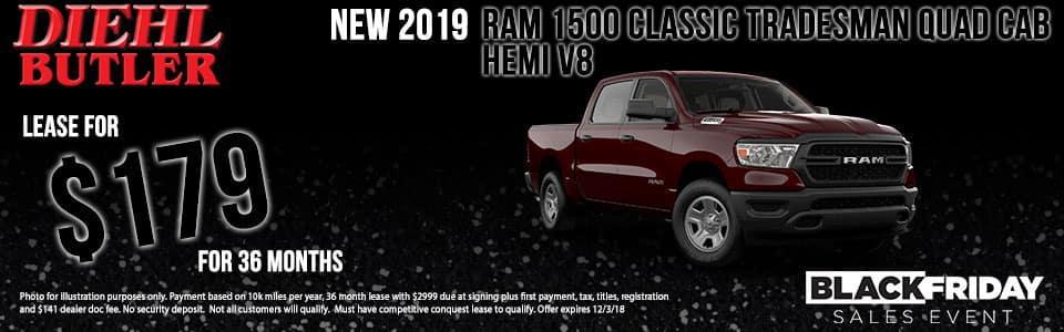 Diehl of Butler, PA Chrysler Jeep Dodge Ram Toyota Volkswagen. New 2019 Ram 1500 Classic Tradesman 4WD