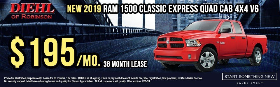 """Diehl of Robinson Chrysler Jeep Dodge Ram Robinson Township PA New used parts accessories service NEW 2019 RAM 1500 CLASSIC EXPRESS QUAD CAB® 4X4 6'4"""" BOX"""