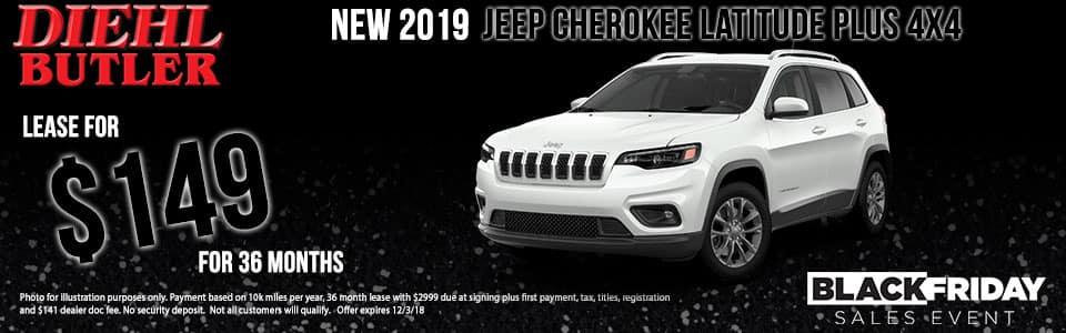 Diehl of Butler, PA Chrysler Jeep Dodge Ram Toyota Volkswagen. New 2019 Jeep Cherokee Latitude Plus 4WD