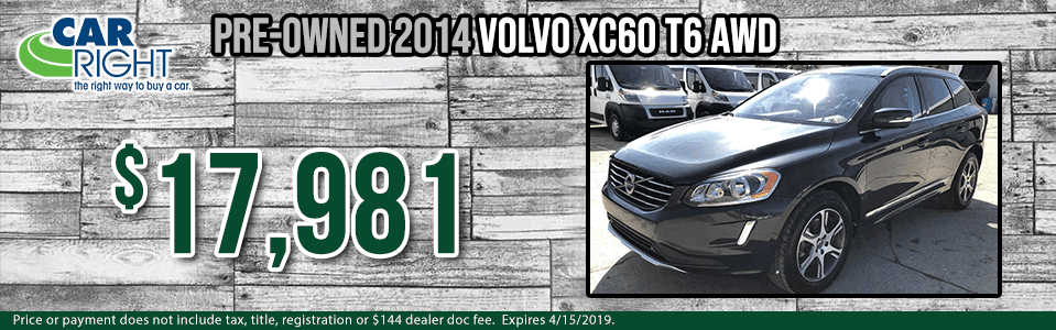 Spring sales event carright Chrysler dodge jeep ram Diehl auto moon township Pittsburgh pre-owned vehicle special used special certified pre-owned cpo volvo specials b8109b-2014-volvo-xc60-t6