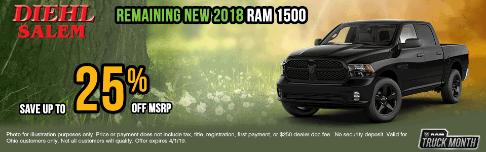 2018-ram Spring sales event ram truck month jeep specials Chrysler specials ram specials dodge specials mopar specials new vehicle specials Diehl automotive Diehl Salem Diehl of Salem specials Ohio specials