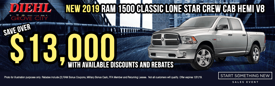 R621-2019-RAM-1500-CLASSIC-LONESTAR-CREW-CAB-HEMI-V8 new vehicle specials Start Something New Sales Event Chrysler Specials Dodge Specials Jeep Specials RAM Specials grove city specials Diehl specials Diehl Automotive grove city lease specials