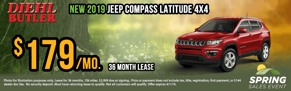 Diehl of Butler. Chrysler Jeep Dodge Ram Toyota Volkswagen. Butler, PA. New and Used sales, service, body shop, reconditioning, parts and accessories.  2019 Jeep Compass Latitude