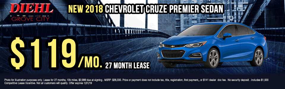 G158 2018-chevrolet-cruze-premier-sedan Diehl of grove city new vehicle specials Chevrolet specials buick specials Cadillac specials new specials gm specials diehl automotive lease specials lease incentives new car