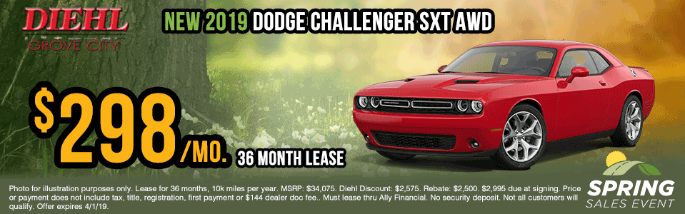D436-2019-dodge-challenger-sxt-awd Spring sales event jeep specials Chrysler specials ram specials dodge specials mopar specials new vehicle specials Diehl automotive Diehl Robinson Diehl of grove city specials lease specials