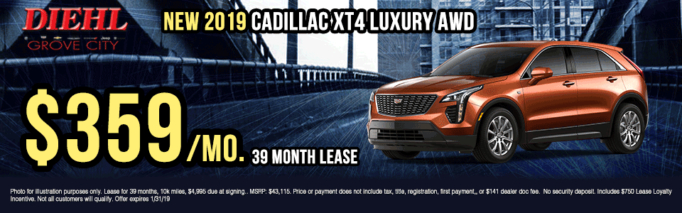 X050-2019-CADILLAC-XT4-LUXURY-AWD Diehl of grove city new vehicle specials Chevrolet specials buick specials Cadillac specials new specials gm specials diehl automotive lease specials lease incentives