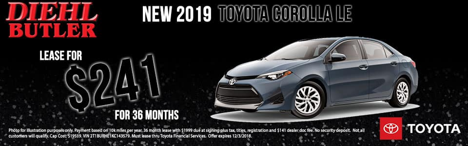 Diehl Toyota of Butler pa New 2019 Toyota Corolla LE FWD 4D Sedan
