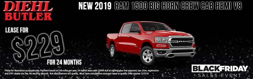 Diehl of Butler, PA Chrysler Jeep Dodge Ram Toyota Volkswagen New 2019 Ram 1500 Big Horn/Lone Star 4WD