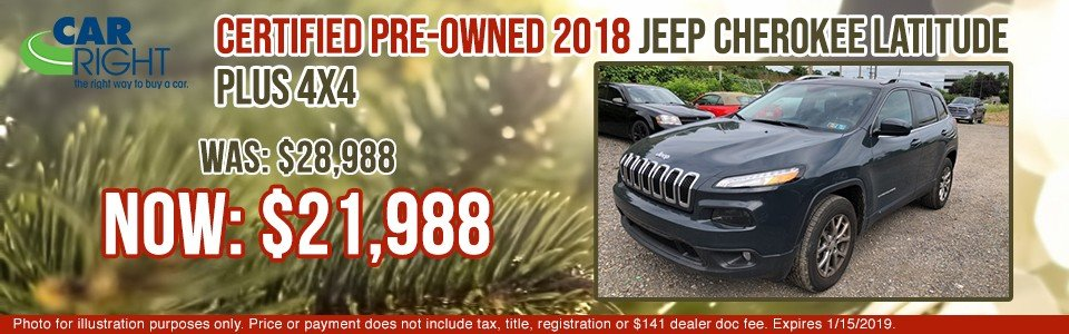 certified pre-owned 2018 jeep cherokee latitude plus 4x4 carright chrysler dodge jeep ram fuso carright pre-owned vehicle specials moon township