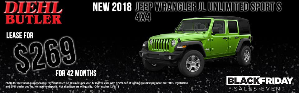 Diehl of Butler, PA Chrysler Jeep Dodge Ram Toyota Volkswagen. New 2018 Jeep Wrangler Unlimited Sport S 4WD
