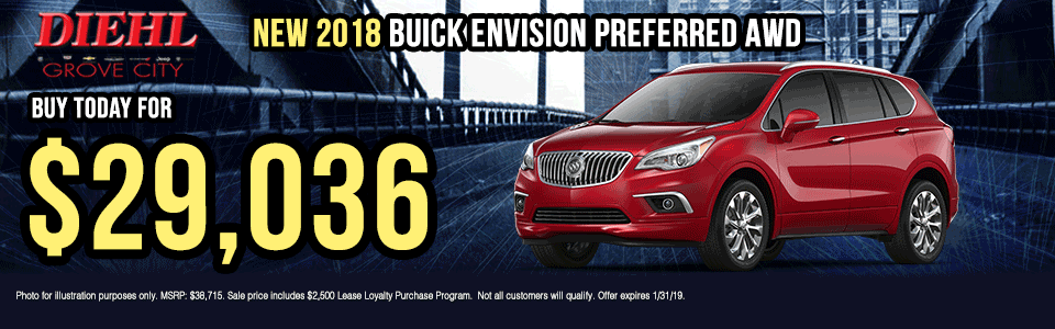 B019-2018-BUICK-ENVISION-AWD Diehl of grove city new vehicle specials Chevrolet specials buick specials Cadillac specials new specials gm specials diehl automotive lease incentive lease special