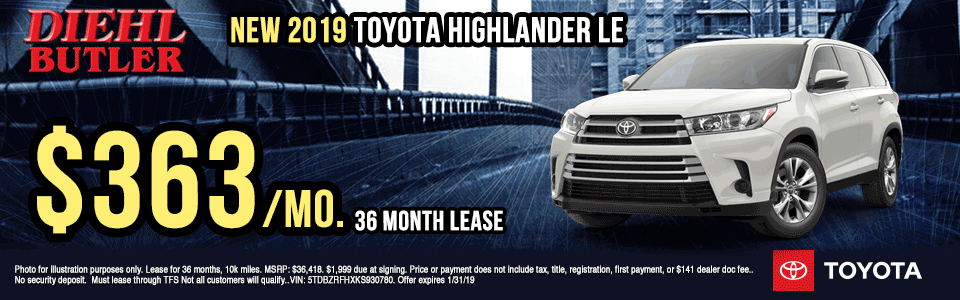 T191068-2019-TOYOTA-HIGHLANDER-LE-AWD diehl toyota specials new vehicle specials lease specials toyota specials lets go places