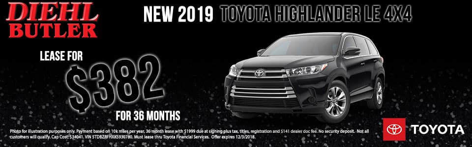 Diehl Toyota of Butler pa.  New 2019 Toyota Highlander LE AWD