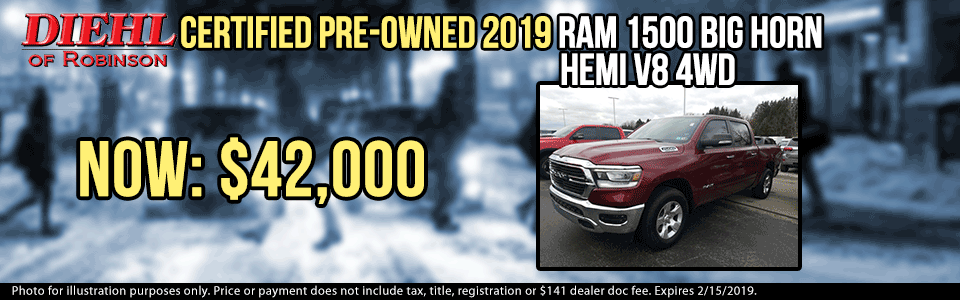 Diehl of Robinson Chrysler Jeep Dodge Ram Robinson Twp. New and used vehicles, service, parts, accessories, sales. CERTIFIED PRE-OWNED 2019 RAM 1500 BIG HORN/LONE STAR 4WD