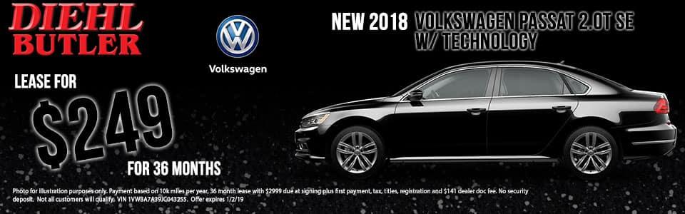 Diehl Volkswagen of Butler pa. New 2018 Volkswagen Passat 2.0T SE FWD 4D Sedan