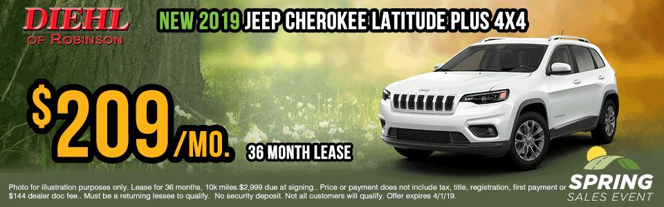 19J0111-2019-jeep-cherokee-latitude-plus lease specials Spring sales event jeep specials Chrysler specials ram specials dodge specials mopar specials new vehicle specials Diehl automotive Diehl Robinson Diehl of Robinson specials