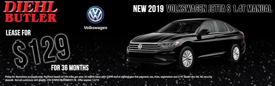 Diehl Volkswagen of Butler pa. New 2019 Volkswagen Jetta 1.4T S FWD 4D Sedan
