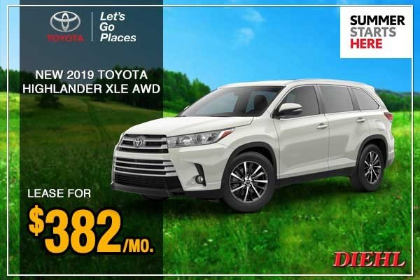 Special offer on 0   New 2019 Toyota Highlander XLE AWD