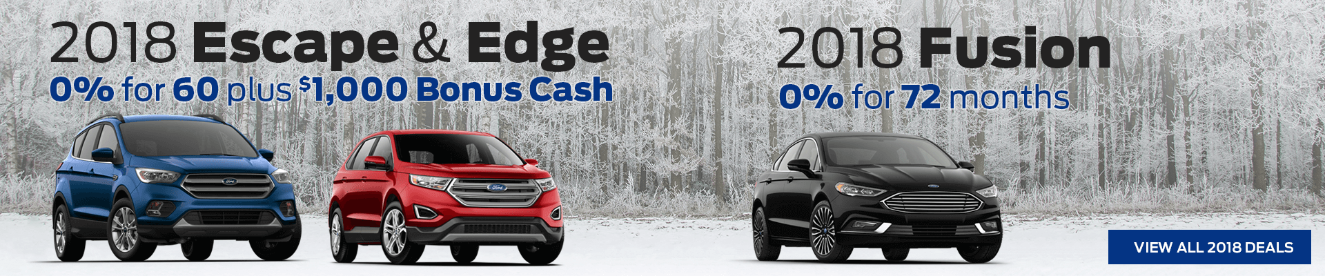 Ford Escape, Edge & Fusion incentives on 2018 models