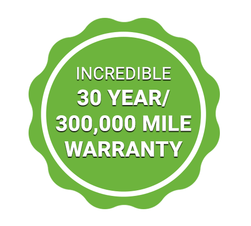 30-year/300,00 mile warranty