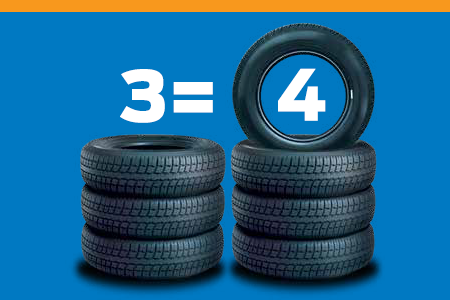Buy Three Select Brand-Name Tires and the Fouth One's On Us