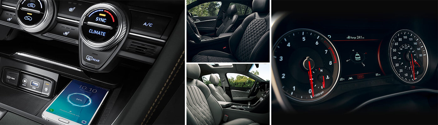 collage of the interior on the new genesis g70