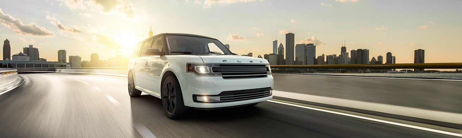 White 2019 Ford Flex on a highway in Asheville NC